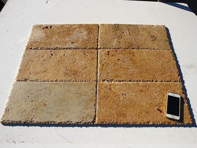 1.2 x 20 x 40cm Kenar Zincir Kırma Antik Traverten Kaplama-DT1046