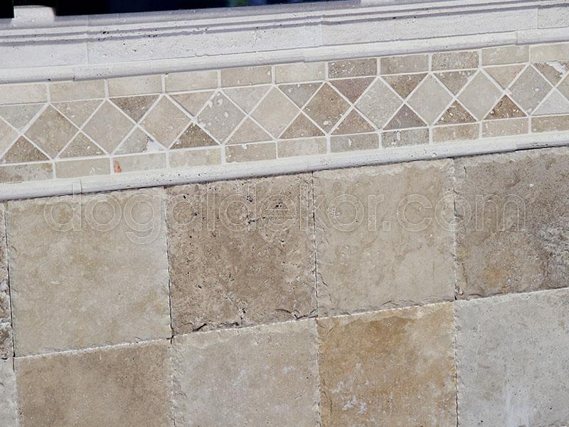 1.2 x 20.3 x 20.3cm Kenar Zincir KırmaTraverten  Doğal Taş-DT1050