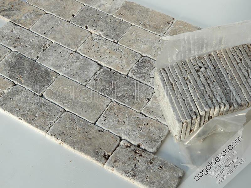 1.2 x 7.5 x 15cm Eskitme Gümüş Silver Traverten  -DT1146