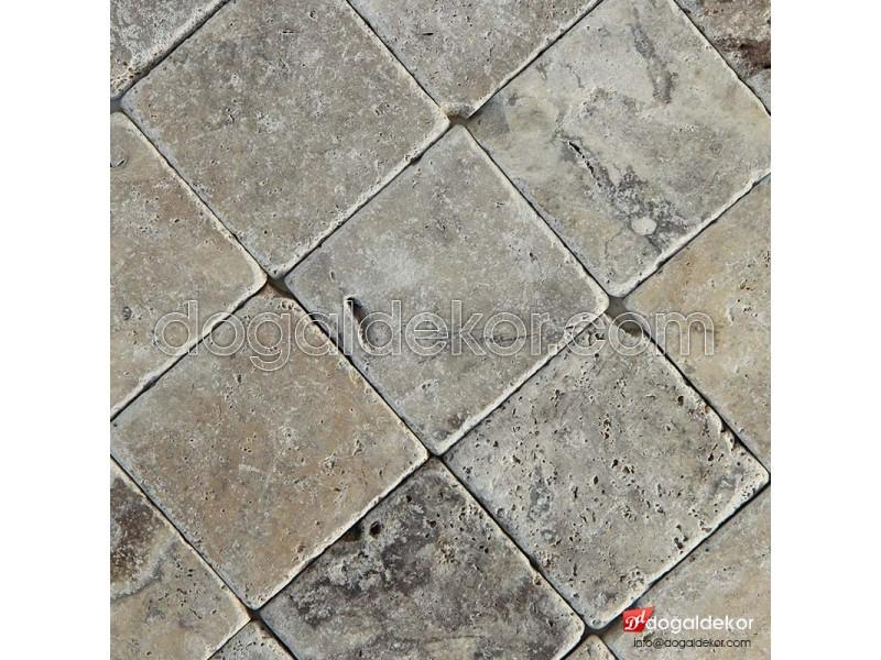 10x10 Eskitme Gümüş Silver Traverten Doğaltaş -DT1192