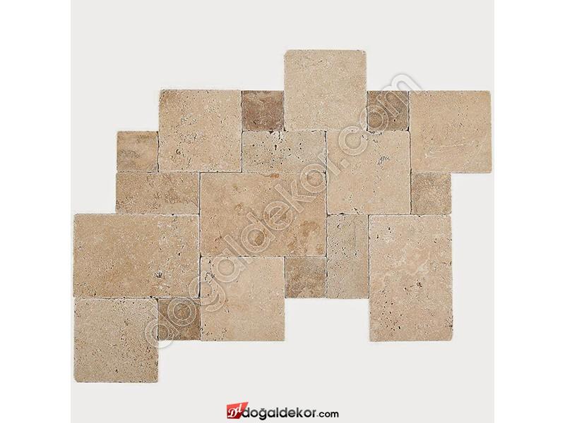 1.2 cm Zemin Kaplama Eskitme French Pattern Set Karışık Traverten -DT1385