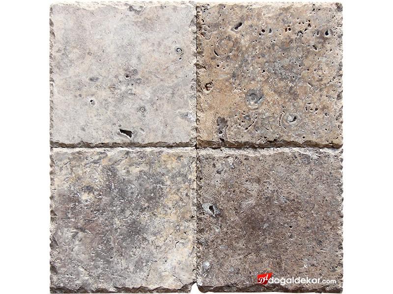 1.2x20x20cm Kenar Zincir Kırma Silver Gümüş Traverten -DT1553