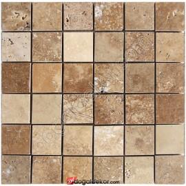 5x5 Fileli Cilalı Traverten Mozaikler -DT1016