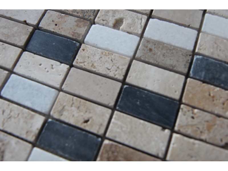 Traverten-Mermer-Siyah Doğal Taş Fileli Mozaikler -DT1029