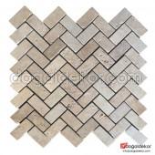 Traverten Fileli Mozaik Zigzag -DT1193
