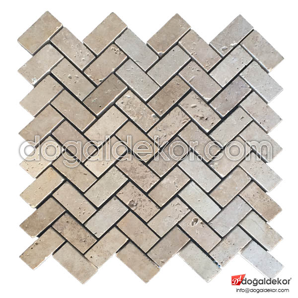Zigzag Model Traverten Fileli Mozaik -DT1193