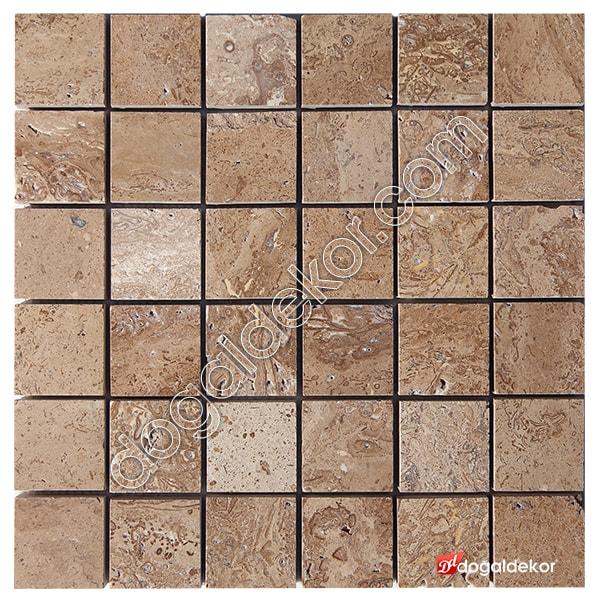5x5 Noce Ceviz Traverten Fileli Mozaik -DT1269