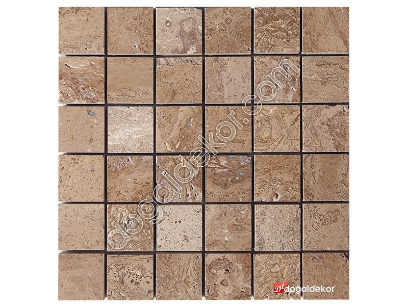 5x5 Noce Traverten Fileli Mozaik -DT1269