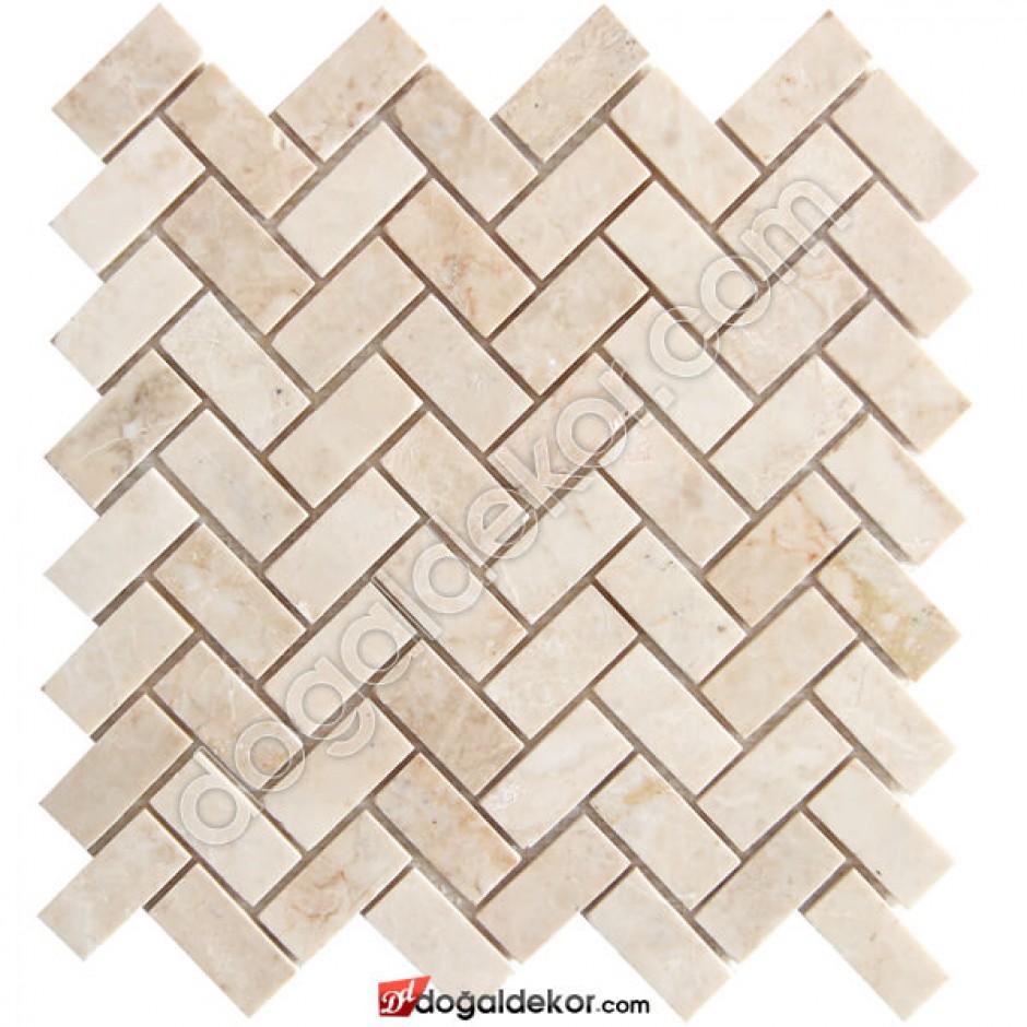 Mutfak Dolabı Tezgah Arası Bej Parlak Mermer Mozaik -DT1387