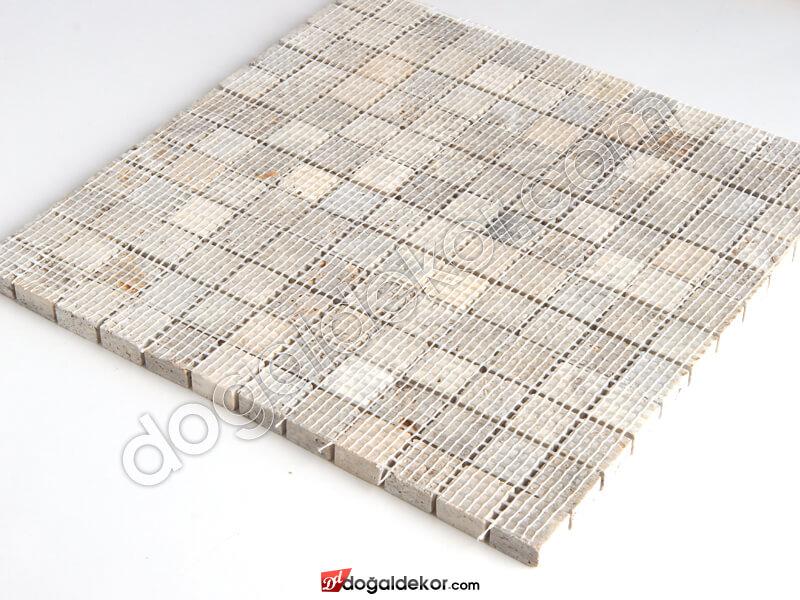 23x23mm Gümüş Traverten Fileli Mermer Mozaik- DT1388