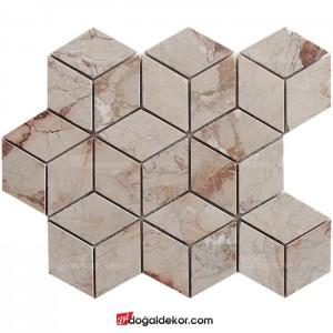 3D Bej Mermer Doğal Taş Duvar Mozaik-DT1425