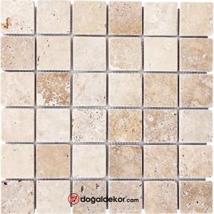 5x5cm Eskitme Traverten Doğal Taş Mozaik -DT1569