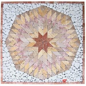 Dekoratif Doğal Taş Mozaik Göbek Dekor 1 x 92 x 92cm -DT1338