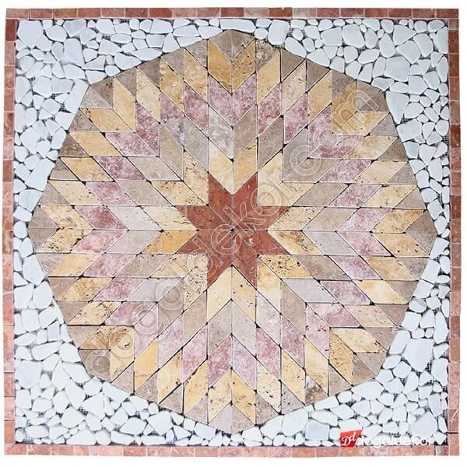 1 x 92 x 92cm Dekoratif Doğal Taş Mozaik Göbek Dekor -DT1338