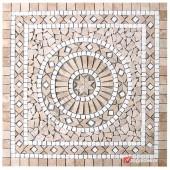 1 x 92 x 92cm Dekoratif Doğal Taş Mozaik Göbek Dekor -DT1339