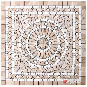 Dekoratif Doğal Taş Mozaik Göbek Dekor 1 x 92 x 92cm -DT1339