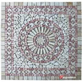1 x 92 x 92cm Dekoratif Doğal Taş Mozaik Göbek Dekor -DT1340