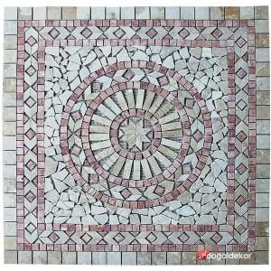 Dekoratif Doğal Taş Mozaik Göbek Dekor 1 x 92 x 92cm -DT1340