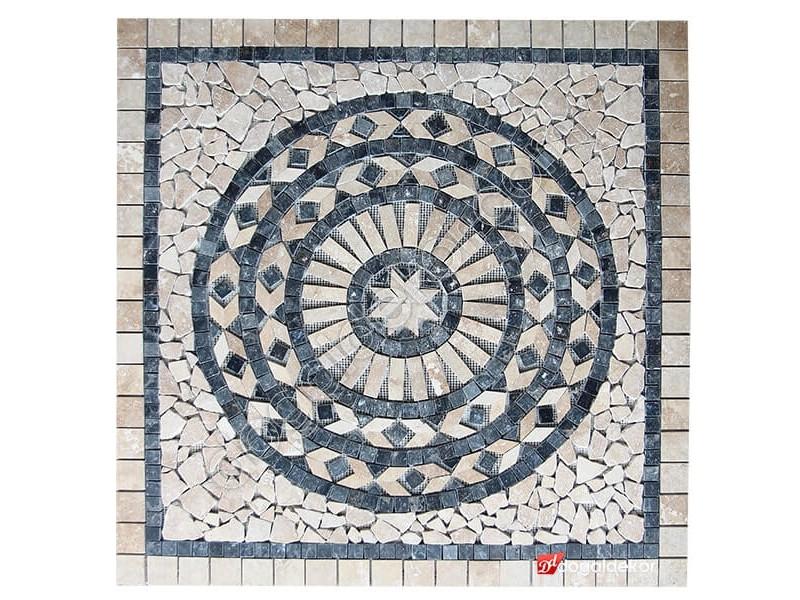 1 x 92 x 92cm Dekoratif Doğal Taş Mozaik Göbek Dekor Madalyon -DT1342