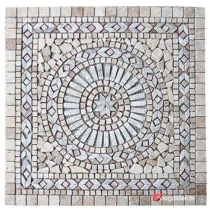 1 x 92 x 92cm Dekoratif Doğal Taş Mozaik Göbek Dekor Madalyon -DT1343