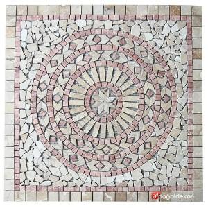 1 x 92 x 92cm Dekoratif Doğal Taş Mozaik Göbek Dekor Madalyon -DT1344