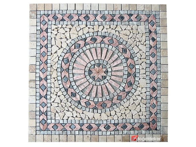 1 x 92 x 92cm Dekoratif Doğal Taş Mozaik Göbek Dekor Madalyon -DT1345
