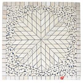 Dekoratif Doğal Taş Mozaik Göbek Dekor Madalyon 1 x 92 x 92cm -DT1346