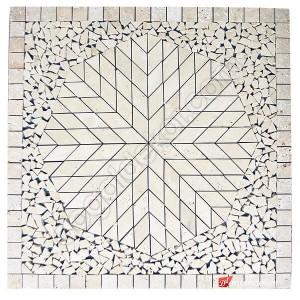 1 x 92 x 92cm Dekoratif Doğal Taş Mozaik Göbek Dekor Madalyon -DT1346