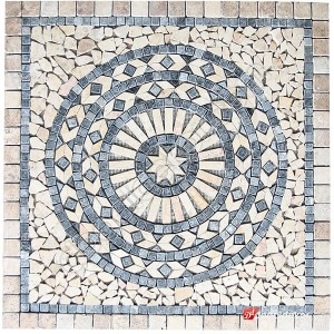 1 x 92 x 92cm Dekoratif Doğal Taş Mozaik Göbek Dekor Madalyon -DT1347