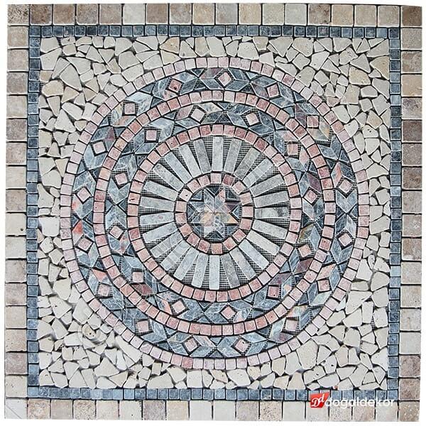 1 x 92 x 92cm Dekoratif Doğal Taş Mozaik Göbek Dekor -DT1348