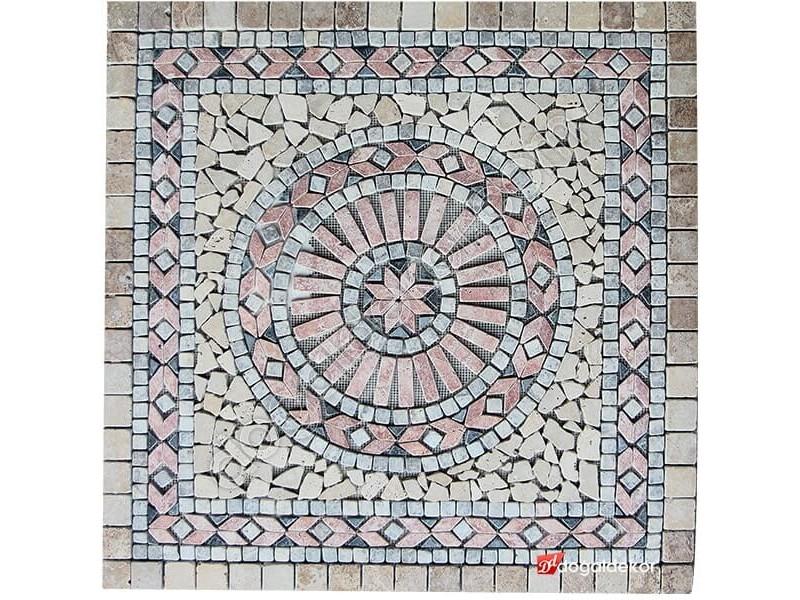 1 x 92 x 92cm Dekoratif Doğal Taş Mozaik Göbek Dekor -DT1349