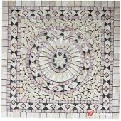 1 x 92 x 92cm Dekoratif Doğal Taş Mozaik Göbek Dekor -DT1350