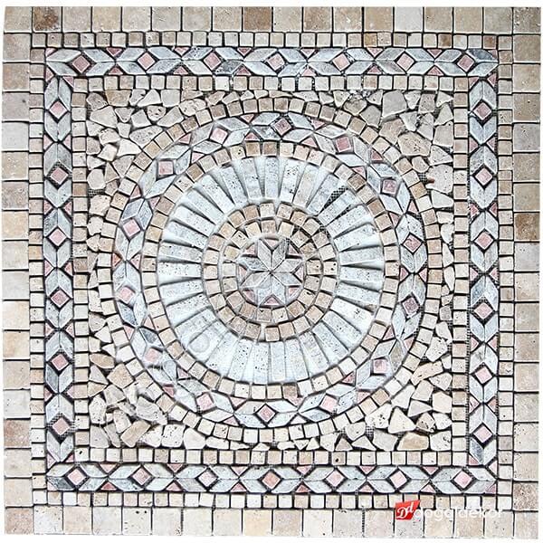1 x 92 x 92cm Dekoratif Doğal Taş Mozaik Göbek Dekor -DT1351