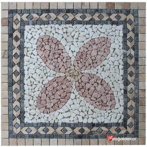 1 x 92 x 92cm Dekoratif Doğal Taş Mozaik Göbek Dekor -DT1352