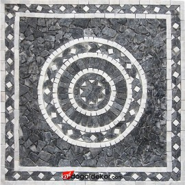 1 x 92 x 92cm Doğal Taş Mozaik Yer Göbek Dekor Madalyon - DT1530