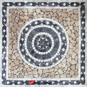 1 x 92 x 92cm Dekoratif Mozaik Traverten Yer Dekor Göbekleri - DT1533