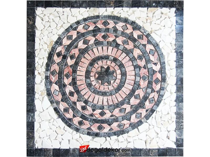 1 x 92 x 92cm Mermer Mozaik Madalyon -DT1532