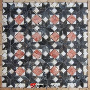 1x60x60cm Renkli Mermer Mozaik Göbek Dekor Madalyon - DT1539