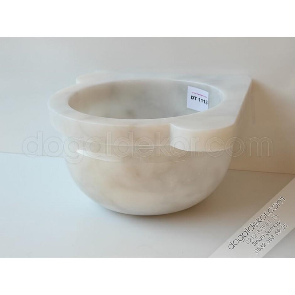 Afyon Mermeri Beyaz Köşe Hamam Kurnası Modelleri-DT1113