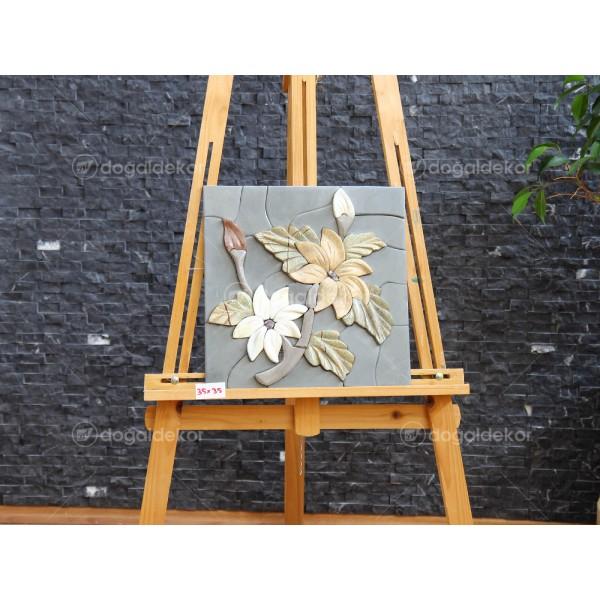 Duvar Dekorasyonu Doğal Taş Tablo - Çiçekler DT1591