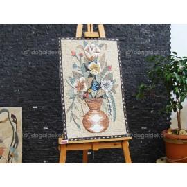 Taş Mozaik Tablo Modelleri - Saksıda Çiçekler DT1595