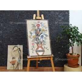 Taş Mozaik Tablo Modelleri - Saksıda Bir Demet Çiçek DT1600