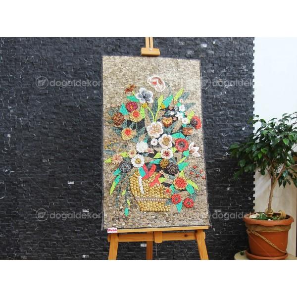 Duvar Dekorasyonu Taş Mozaik Tablo - Rengarenk Çiçekler DT1604