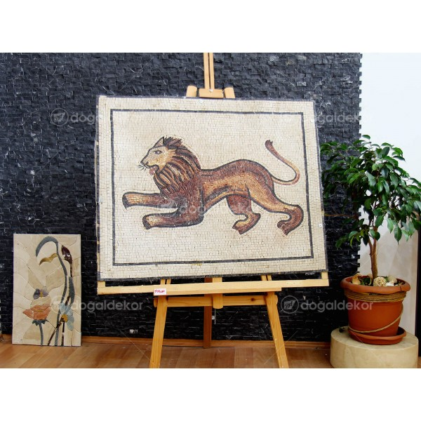 Tarihi Eser Mozaik Replika Taş Tablo - Aslan DT1602