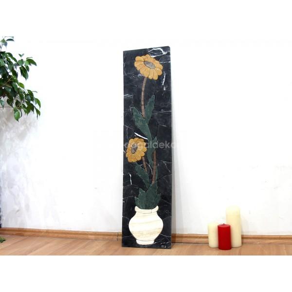 3 Boyutlu Mermer Mozaik Taş Tablo - 2 Sarı Çiçek DT1601