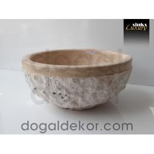 Doğaltaş Tezgah Üstü Banyo Dolap Lavabosu- DT1218