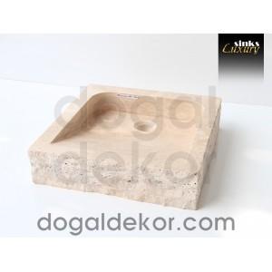 Doğaltaş Tezgah Üstü Banyo Dolap Lavabosu- DT1219