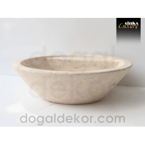 Doğaltaş Tezgah Üstü Banyo Dolap Lavabosu- DT1220