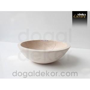 Doğaltaş Tezgah Üstü Banyo Dolap Lavabosu- DT1222