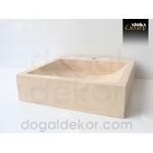 Doğaltaş Tezgah Üstü Banyo Dolap Lavabosu- DT1225
